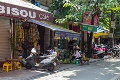 Hanoi, Vietnam - circa September 2015: Shops and streets in residential area of Hanoi,  Vietnam Stock Images