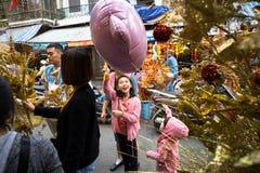 Hanoi, Vietnam - 26 de enero de 2017: La gente toma una decoración y una flor de compra del paseo por Año Nuevo lunar vietnamita  Foto de archivo libre de regalías
