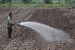 Hanoi, Vietnam - 21 de octubre de 2015: agua del granjero las plantas a su campo en luz del día Foto de archivo libre de regalías