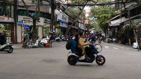 Traffic on the streets. HANOI, VIETNAM - DECEMBER 14, 2018: Traffic on the streets in the old center of Hanoi - capital of Vietnam stock video footage