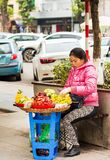 HANOI, VIETNAM - 16. DEZEMBER 2016: Eine Frau verkauft Frucht auf einer Stadtstraße vertikal stockfotos