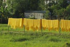Hanoi, Vietnam: die Pfeilwurzsuppennudeln, die spezielle vietnamesische Nudeln sind, werden auf den Bambuszäunen getrocknet, die  Stockbilder