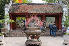Hanoi, Vietnam - Feb 15, 2015: Big thurible in Temple of Literature Van Mieu - Quoc Tu Giam, the famous place in Vietnam.  Royalty Free Stock Images