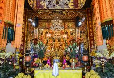 Hanoi, Vietnam - Feb 20, 2107 : Small shrine devoted to Buddha royalty free stock photo