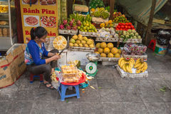 HANOI, VIETNAM - FEBRUARY 2, 2015: Asian market, exotic fruits stock images