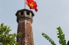 Hanoi Vietnam flag on a castle tower.  stock photos