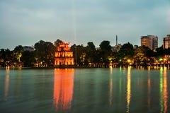 Hanoi, Vietnam. Illuminated Turtle Tower at Hoan Kiem Lake Royalty Free Stock Photos
