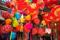 Hanoi Vietnam - Januari 26, 2017: Tet festivallyktor i den Hang Ma gatan, gammal fjärdedel, Hanoi, Vietnam Royaltyfria Bilder