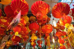 Hanoi Vietnam - Januari 26, 2017: Tet festivallyktor i den Hang Ma gatan, gammal fjärdedel, Hanoi, Vietnam Arkivfoton
