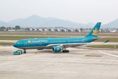 Hanoi, Vietnam - January 20, 2018: Aircraft Airbus A330 of Vietnam Airlines - the flag carrier airline of the country at Noi Bai a Stock Image
