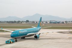 Hanoi, Vietnam - January 20, 2018: Aircraft Airbus A330 of Vietnam Airlines - the flag carrier airline of the country at Noi Bai a. Irport. Noi Bai International royalty free stock images