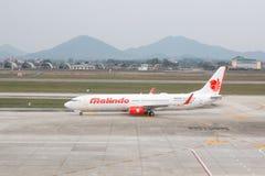 Hanoi, Vietnam - January 20, 2018: Aircraft Boeing 737 of Malindo Airlines at Noi Bai airport. Noi Bai International Airport the b. Iggest airport in Vietnam Stock Photos