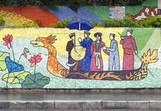 Hanoi, VIETNAM - JANUARY 12, 2015 - Ceramic mosaic mural in Hanoi stock photo