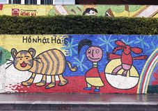 Hanoi, VIETNAM - JANUARY 12, 2015 - Ceramic mosaic mural in Hanoi stock image