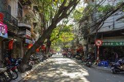 HANOI, Vietnam -  January 1 2015: Downtown street life. Vietnam. Capital in whinter Royalty Free Stock Photos