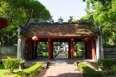 Hanoi, Vietnam - July 24, 2016: Dai Trung gate leading to second courtyard in Temper of Literature , the first Vietnamese universi. Ty Royalty Free Stock Photos