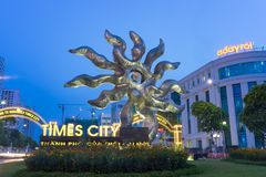 Hanoi, Vietnam - July 19, 2016: Entrance to Vincom Mega Mall Times City, the largest complex in the South of Hanoi developed by Vi. Ngroup. Hanoi cityscape Royalty Free Stock Photo