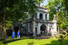 Hanoi, Vietnam - July 24, 2016: First courtyard and Great Portico of Temper of Literature in Van Mieu street.  Stock Images