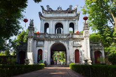 Hanoi, Vietnam - July 24, 2016: Great Portico of Temper of Literature or Van Mieu in Van Mieu street.  Stock Photo