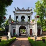 Hanoi, Vietnam - July 24, 2016: Great Portico of Temper of Literature or Van Mieu in Van Mieu street.  Stock Images