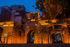 Hanoi, Vietnam - July 8, 2016: O Quan Chuong city gate, the only gate remaining of Thang Long citadel in Hanoi royalty free stock photo