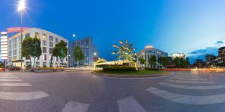 Hanoi, Vietnam - July 19, 2016: Panorama of entrance to Vincom Mega Mall Times City, the largest complex in the South of Hanoi dev. Eloped by Vingroup. Hanoi Stock Image