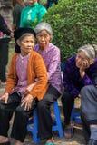 Hanoi Vietnam - Juni 22, 2017: Vietnamesiskt äldre folk på den folk byfestivalen i kollektivt hus på så byn, Quoc Oai distri Royaltyfria Foton