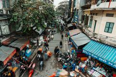 Hanoi, Vietnam, 12.20.18: Life in the street in Hanoi. Crazy traffic in Hanoi with no rules on the street. royalty free stock photos