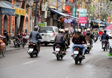 HANOI, VIETNAM march 01: Busy traffic in the old quarter 2015 in Hanoi. Royalty Free Stock Photography