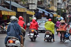 HANOI, VIETNAM march 01: Busy traffic in the old quarter 2015 in Hanoi. Stock Image