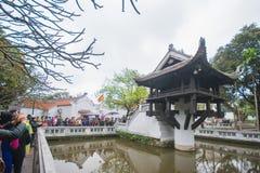 Hanoi Vietnam Mars 12:: Den en pelarpagoden eller Chua Mot Cot är Arkivfoto