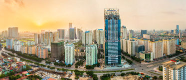 Hanoi,Vietnam - 01 May, 2015: The building is under construction at sunset Royalty Free Stock Images
