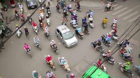 HANOI,VIETNAM - MAY 2014: crazy motorbike traffics. Day time stock video