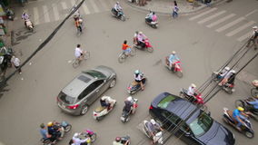 HANOI,VIETNAM - MAY 2014: crazy motorbike traffics. Day time stock video footage