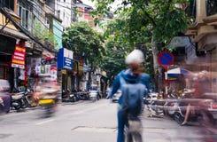 HANOI, VIETNAM - MAY 24, 2017: Hanoi old quarter busy traffic sc stock photo