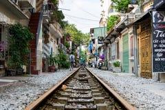 HANOI, VIETNAM - MAY 23, 2017: Hanoi train street with railroad stock photos