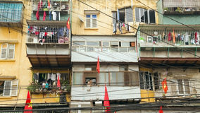 HANOI, VIETNAM - MAY 2014:  Slums with messy electric cables Royalty Free Stock Photo