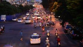 Hanoi Vietnam. Night View of Busy Street from Above - Hanoi Vietnam stock video