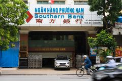 Hanoi, Vietnam - Nov 16, 2014: Front view of Southern Bank branch office on Hang Khay street. Southern Bank is a small local lende Royalty Free Stock Photos