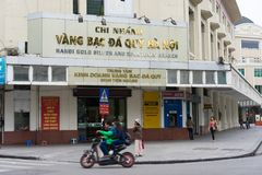 Hanoi, Vietnam - Oct 26, 2014: Front view of Hanoi gold silver and gemstone branch on Dinh Tien Hoang street.  Stock Image