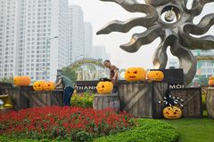 Hanoi, Vietnam - Oct 25, 2015: Halloween decoration on entrance of Vinhomes Times City complex.  Royalty Free Stock Photos