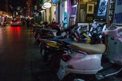 HANOI, VIETNAM, - OCTOBER 10, 2016:  Motorbike parking at night. In the Old Quarter Stock Images