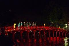HANOI, VIETNAM, - OCTOBER 10, 2016: Night Fashion Show on The Hu. C Bridge Royalty Free Stock Photo