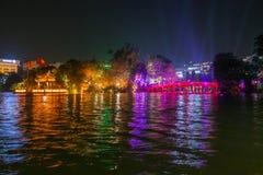 HANOI, VIETNAM, - OCTOBER 10, 2016: Night view of the Huc Bridge. In middle of the Hoan Kiem Lake Stock Image