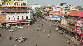 HANOI, VIETNAM - OCTOBER 13, 2016: Timelapse view of crazy traffic in Hanoi Hoan Kiem district old quarter . Timelapse view of crazy traffic in Hanoi Hoan Kiem stock video