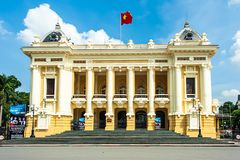 The Opera House in Hanoi. HANOI- VIETNAM: Hanoi opera house in Hoan Kiem, Hanoi capital, Vietnam. The French construction began in 1901 and was completed in royalty free stock photos