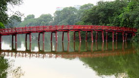 Hanoi Vietnam  - Scenic The Huc Bridge on Hoan Kiem Lake stock footage