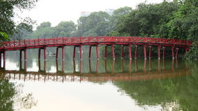 Hanoi Vietnam  - Scenic The Huc Bridge on Hoan Kiem Lake stock video