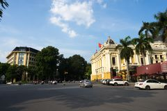 Hanoi, Vietnam - Sep 26, 2016: August Revolution square with closeup Hanoi Opera House in Hoan Kiem district.  Royalty Free Stock Photo