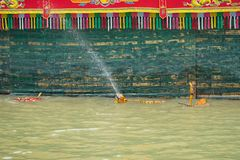 Hanoi, Vietnam - Sep 20, 2015: Common Vietnamese water puppetry state in Dao Thuc village.  Royalty Free Stock Images